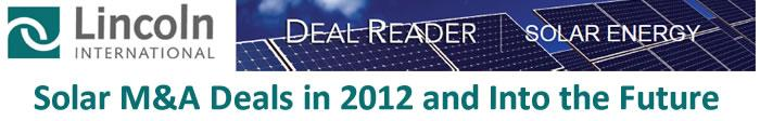 Solar M&A Deals in 2012 and Into the Future