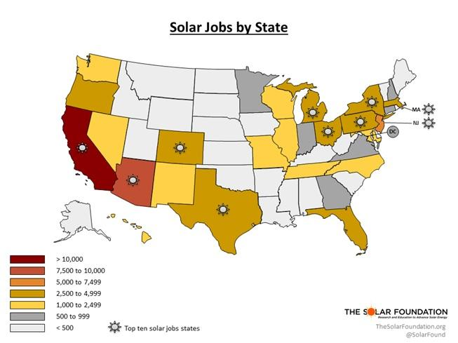 New Map Shows Solar Jobs Still Growing Faster Than the Economy
