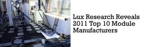 Lux Research Reveals 2011 Top 10 Module Manufacturers