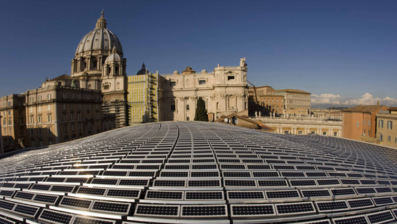 SOLAR PANELS COVER ROOF OF PAUL VI AUDIENCE HALL AT VATICAN