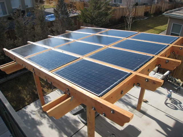 This system, above, looks great and makes the perfect shade spot for their  patio barbecue (this is a system in the 2KW range). Porches and awnings are  also ... - Solar Shade Ideas - Pergola AltEnergyMag